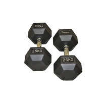 Fitquip 25kg Rubber Hex Dumbbell